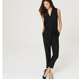 LOFT Black Collared Wrap Jumpsuit w/ Pockets Belt